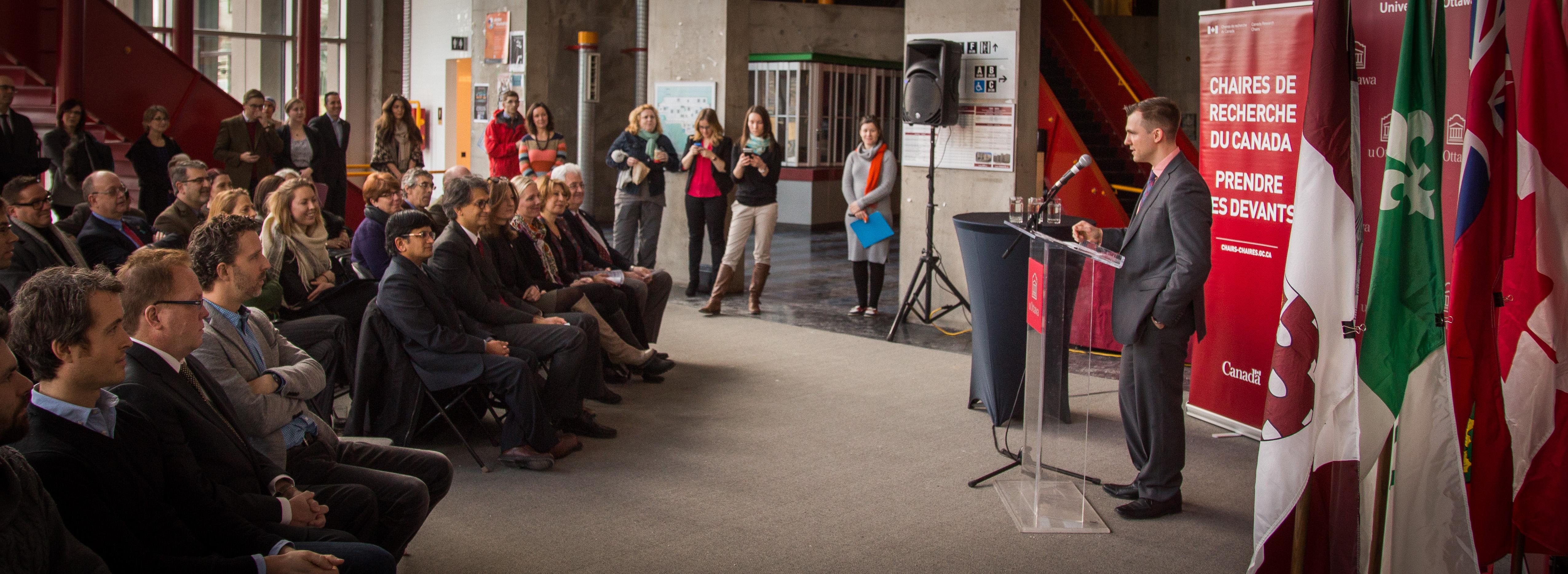 Professor Benoît Lessard speaks to crowd at CRC announcement