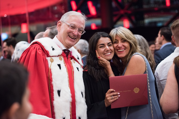 President Jacques Frémont at convocation with students