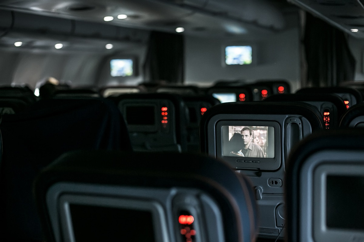 Inside empty airplane
