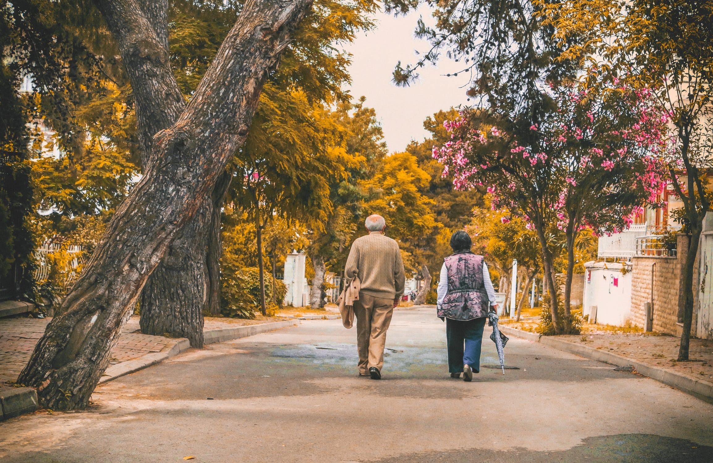 elderly couple walking through trees