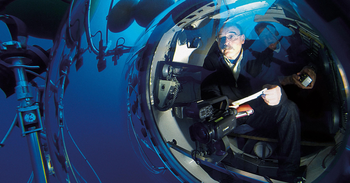 Professor Mark Hannington maps the site of an active volcano in the Atlantic Ocean from a submarine
