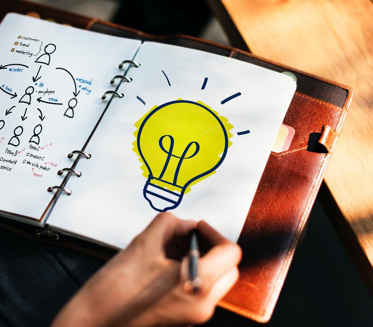 Creative mind writing an idea