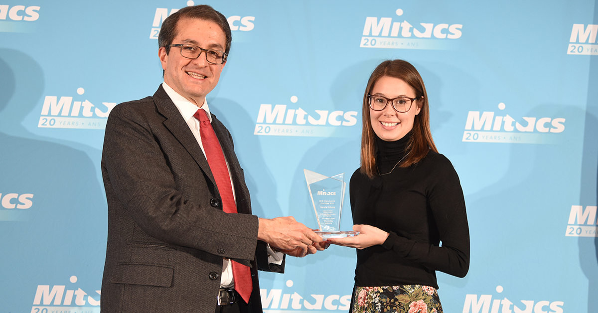 Alejandro Adem, President of NSERC (and former Mitacs CEO) presents the Alejandro Adem Legacy Award for Outstanding Innovation – Indigenous to Renelle Dubosq of the University of Ottawa.
