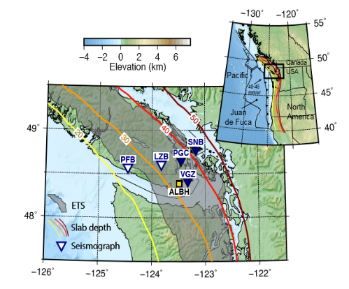 A map of Vancouver Island showing the locations of seismic instruments considered by the research group.