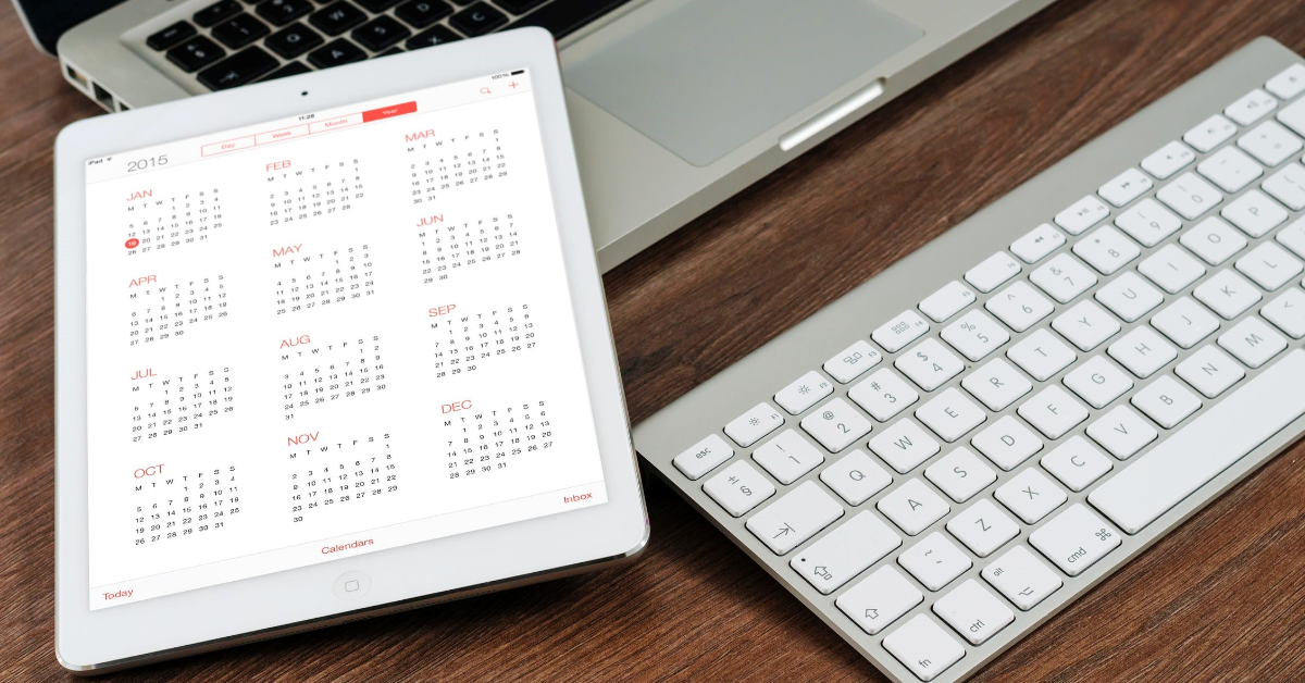 An iPad showing a calendar.