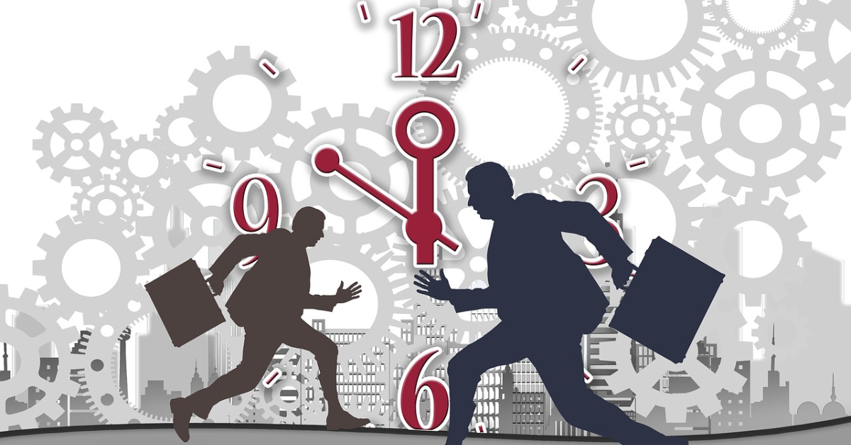 Two workers running with a clock in the background