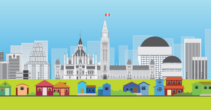 Colourful illustration of the city of Ottawa