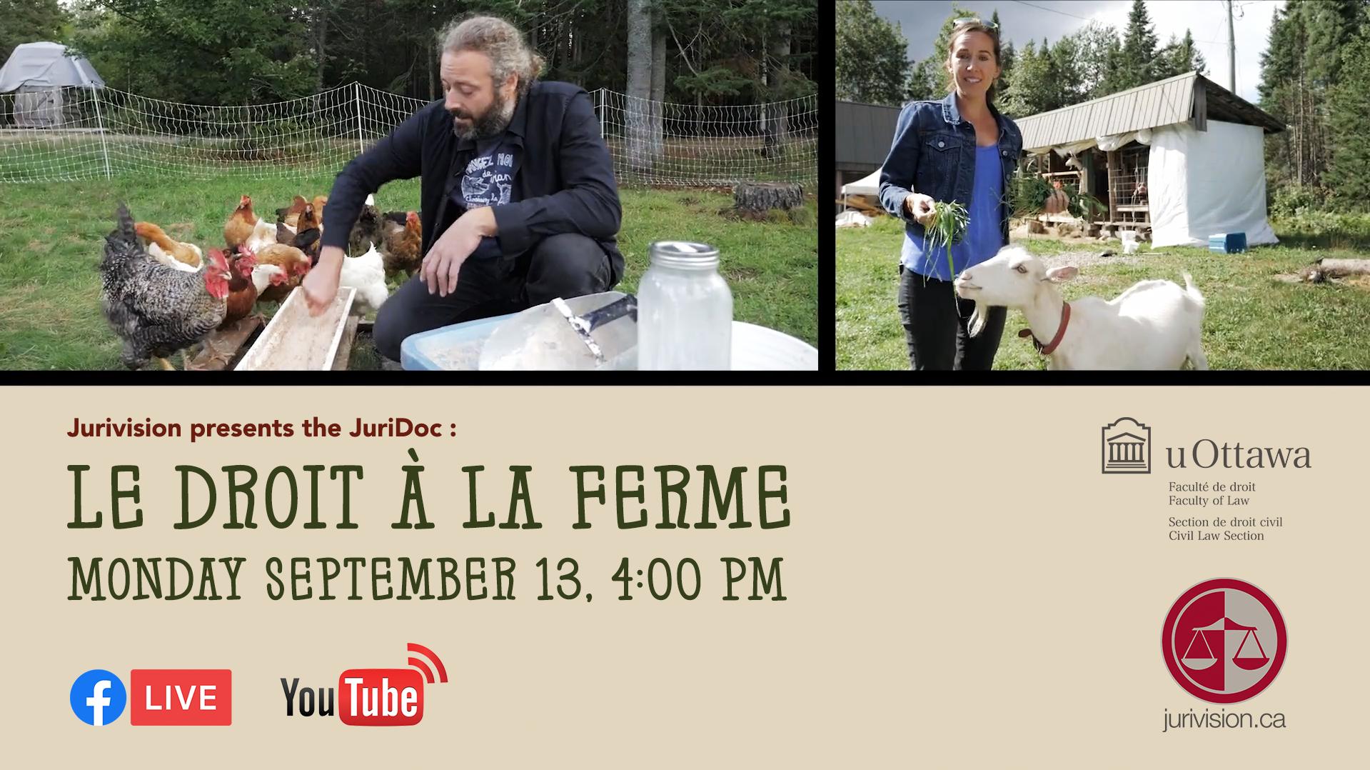 English poster for the premiere of Le droit a la ferme