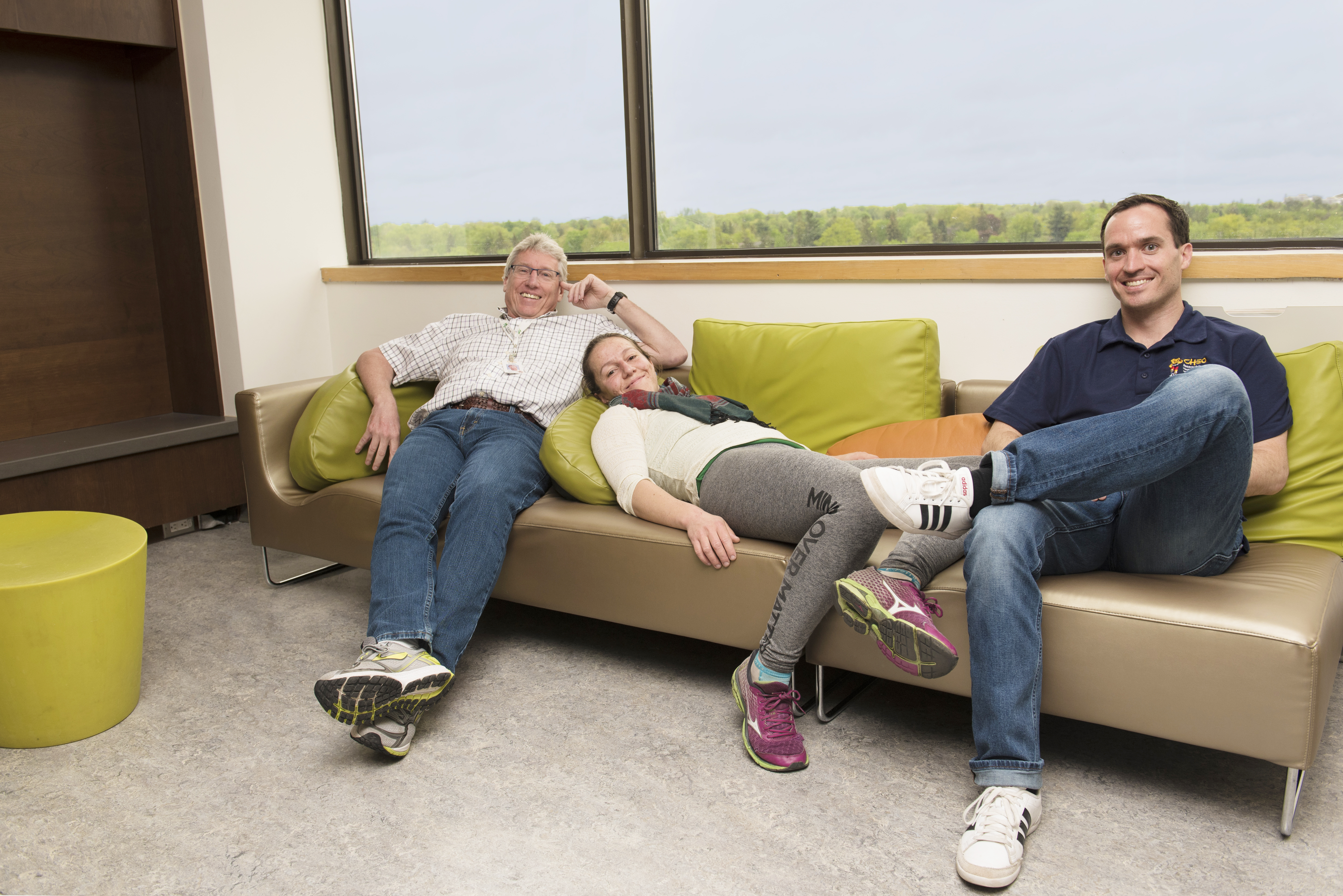 "HALO researchers Dr. Mark Tremblay, Salomé Aubert and Joel Barnes demonstrate ""reclining"", ""lying"" and ""sitting""."