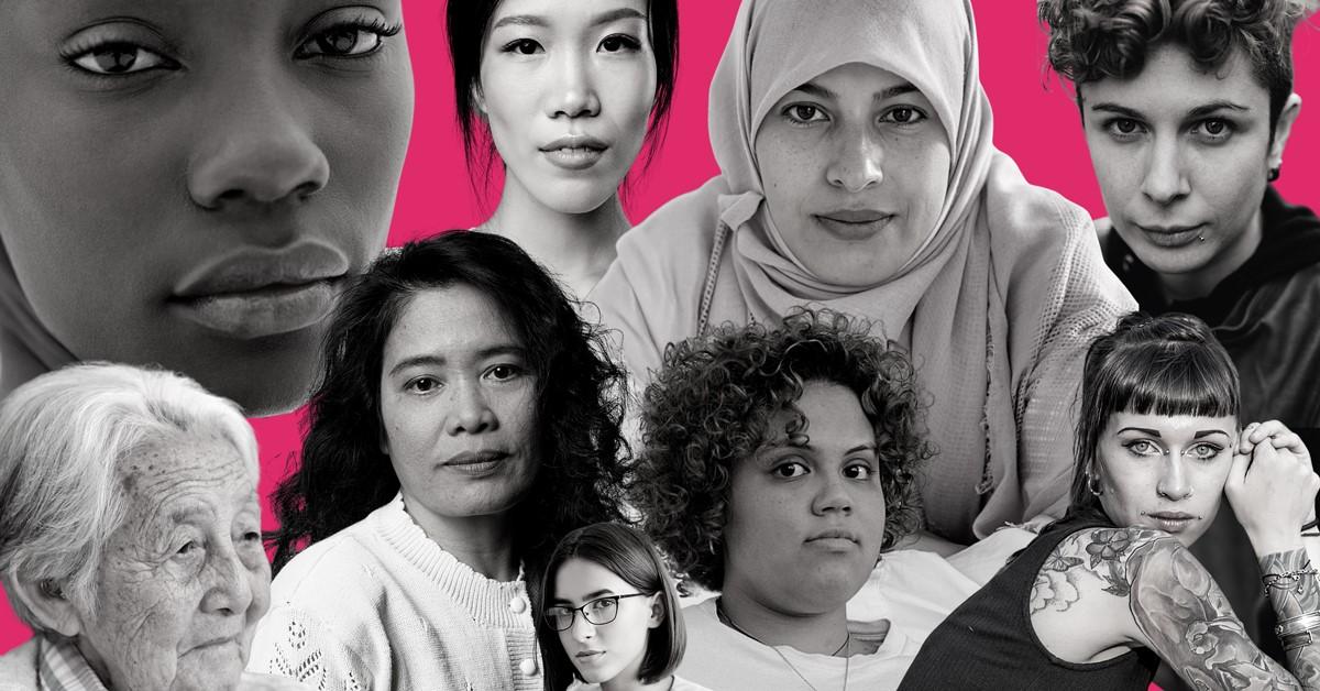 Several women's faces