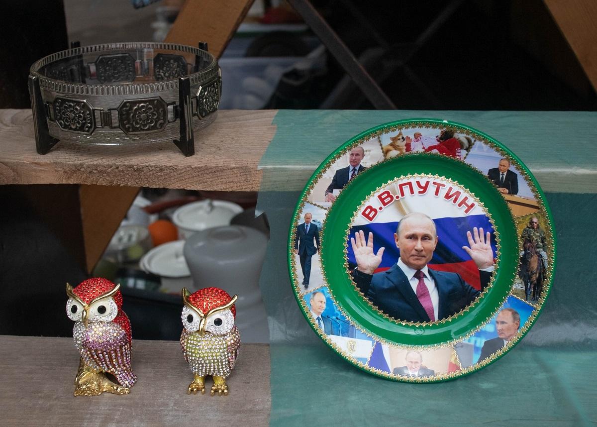 Assiette à dîner à l'effigie du président russe Vladimir Poutine