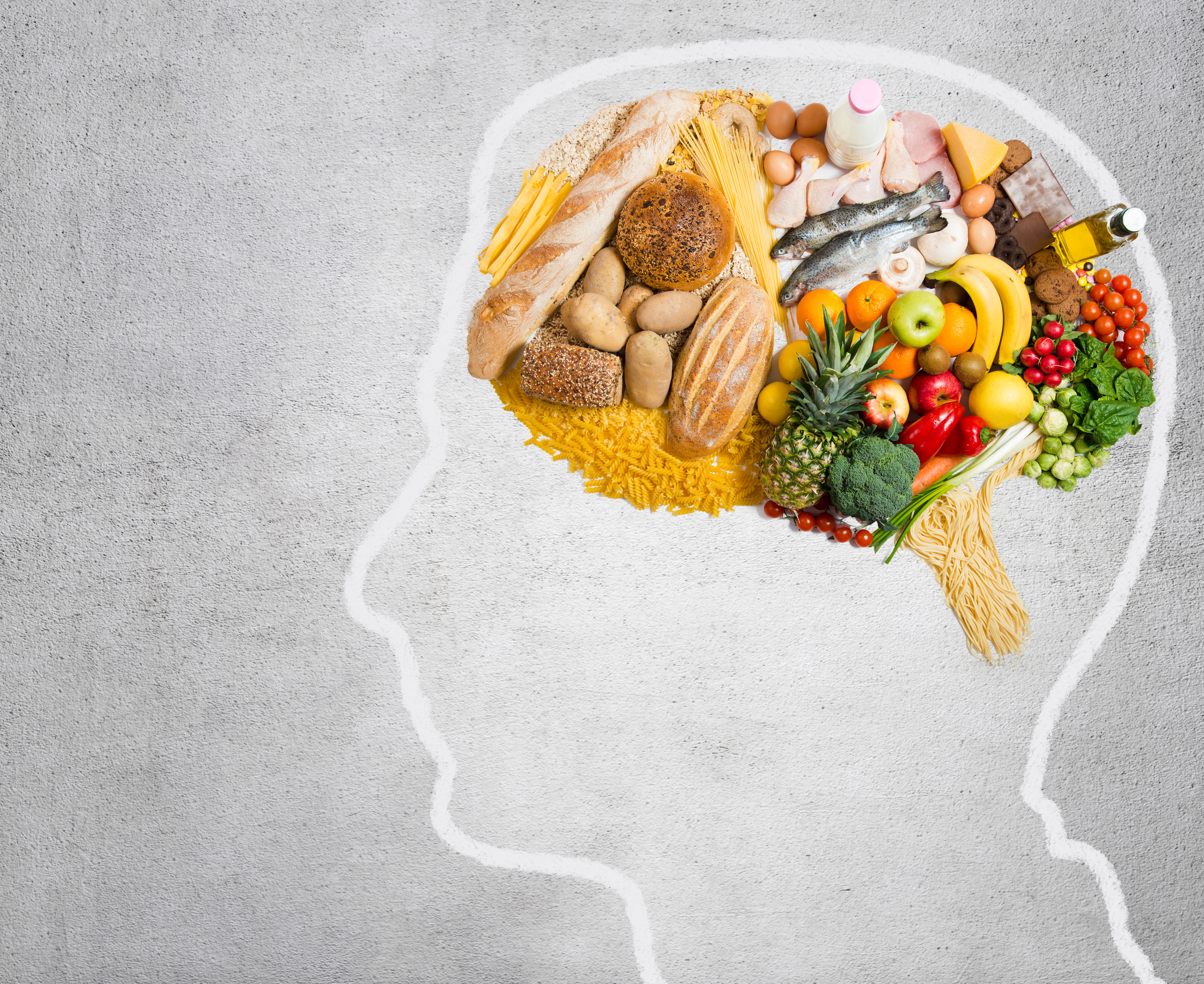 Brain pictorial composed with food