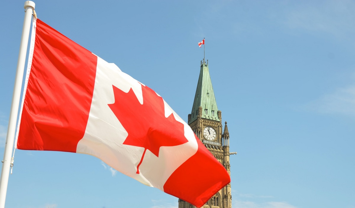 Canadian flag in front of parliament