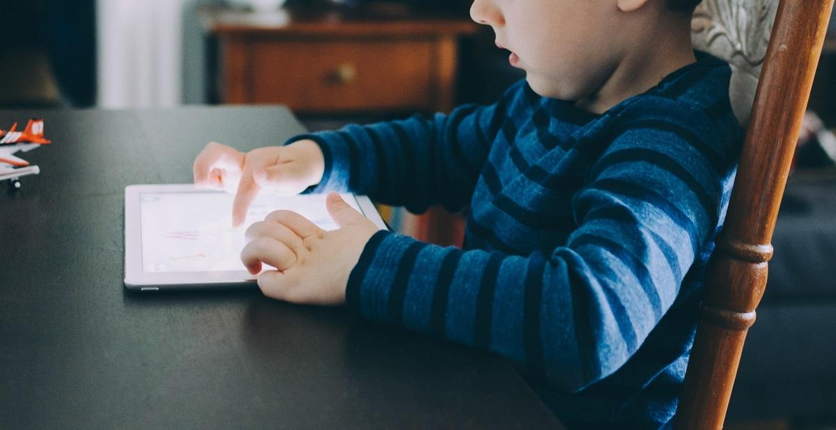 Child looking at an iPad