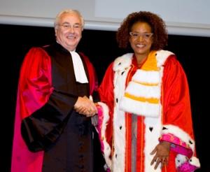 Mme Michaelle Jean with Jacques Samarut, Président, École Normale Supérieure de Lyon. Mme Jean received her hon doc from ENS.