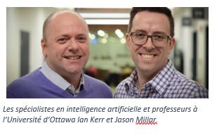Experts en IA, Jason Millar et Ian Kerr