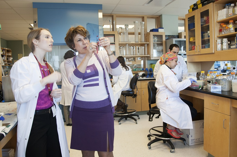 Dr. Mona Nemer and students in her laboratory