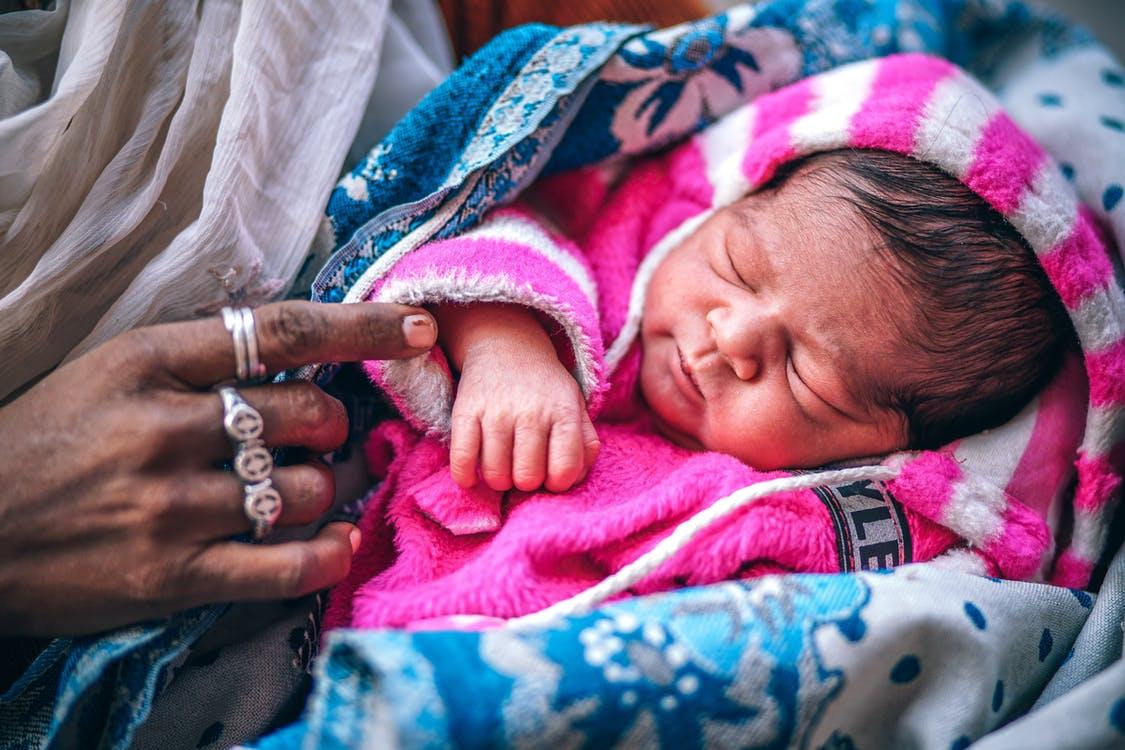 Newborn baby in a blanket