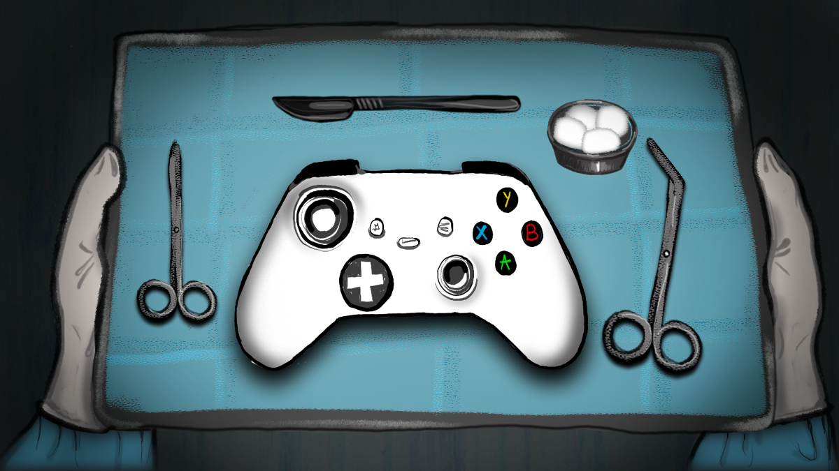 Illustration showing video game controller on surgical tray surrounded by surgical instruments