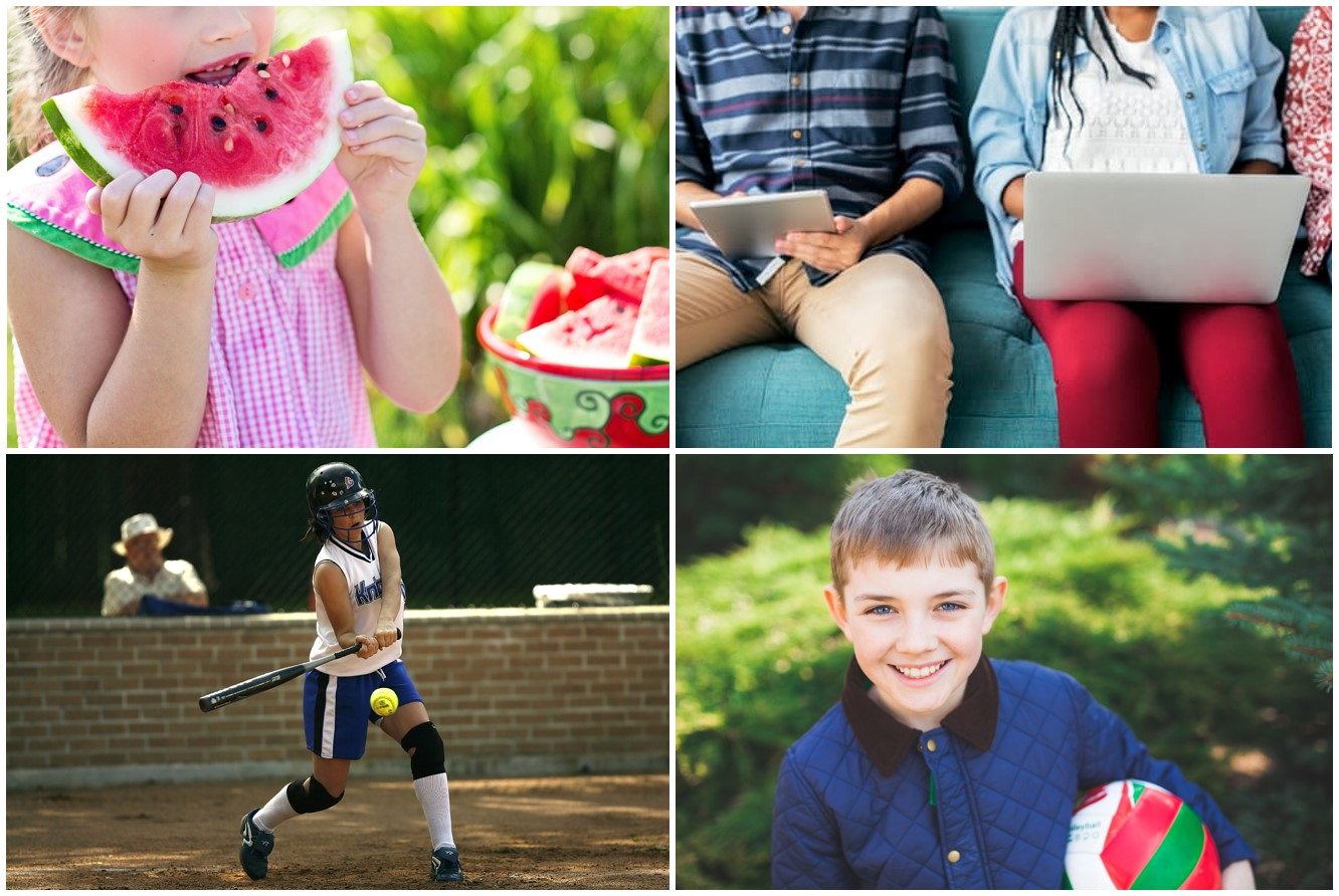 Pictures showing young girl eating watermelon, teens on computers and tablets, a young girl playing baseball and a young boy holding a soccer ball