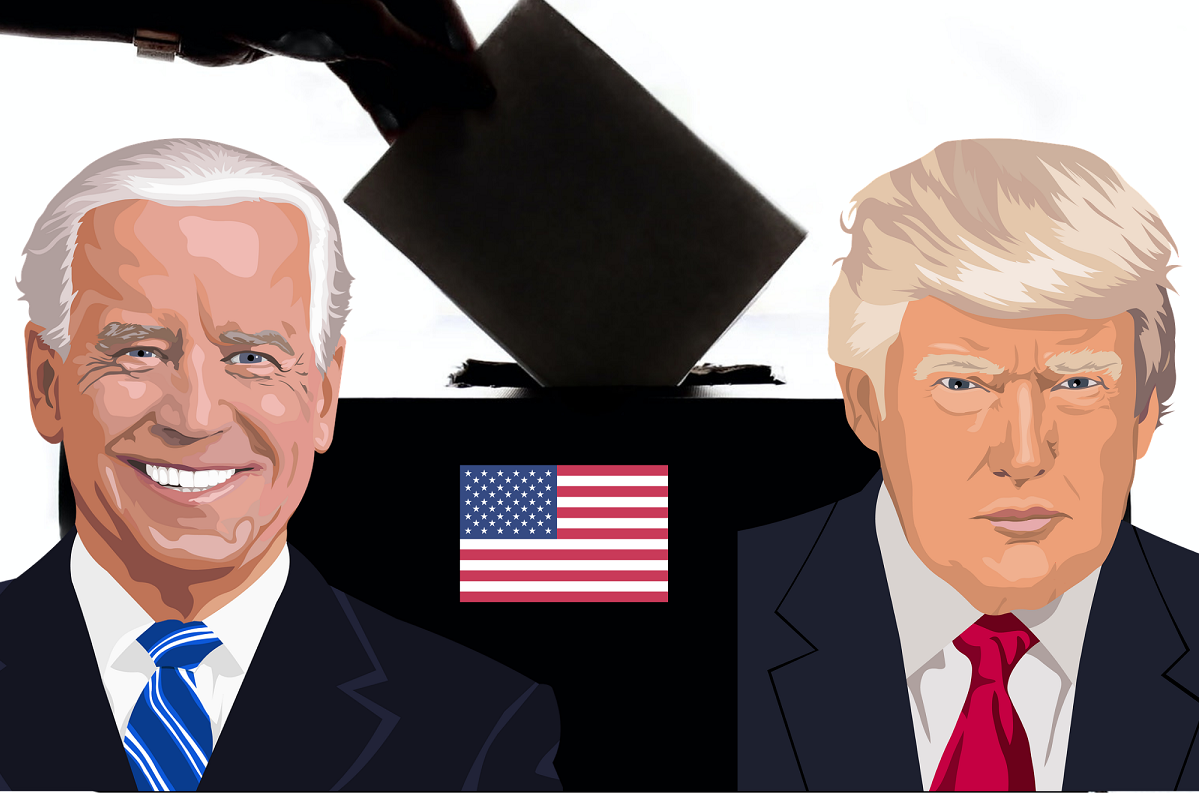 Illustration featuring Biden, Trump, U.S. flag and ballot box